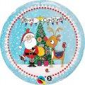 Merry Christmas Folien-Ballon mit lustiger Weihnachts-Zeichnung