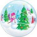 Durchsichtiger Folien-Ballon - Bubble - mit Schneemann und Tannenbaum bedruckt