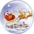Durchsichtiger Folien-Ballon - Bubble - mit fliegendem Weihnachts-Schlitten